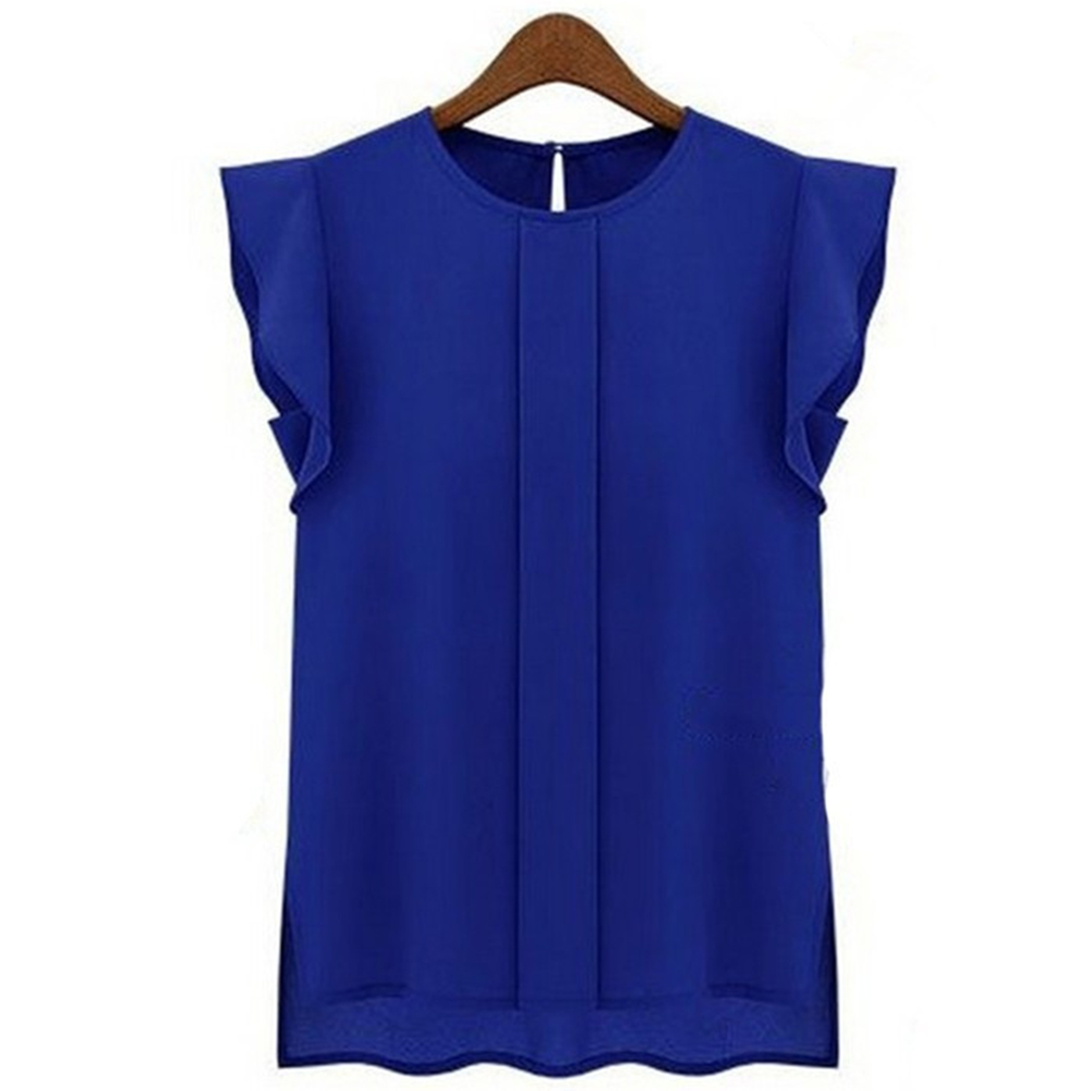 Women Summer Casual All-match Solid Color Round Neck Chiffon Shirt sapphire_S
