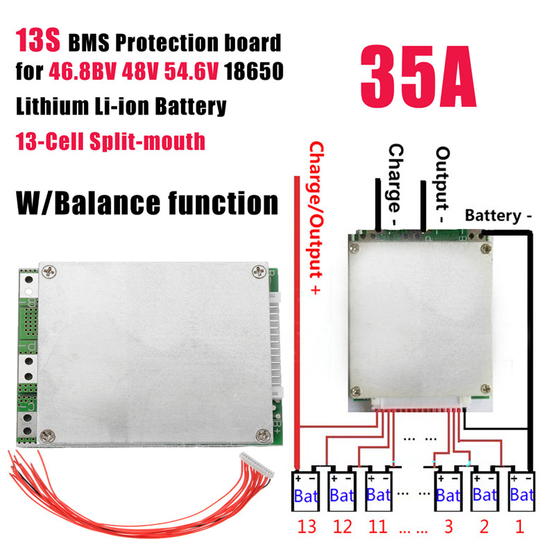 1PC 13S 35A 48V Protection Board with BMS PCB Balance Integrated Circuit for 18650 Lithium Battery(Red Baseboard) 13S 35A 48V