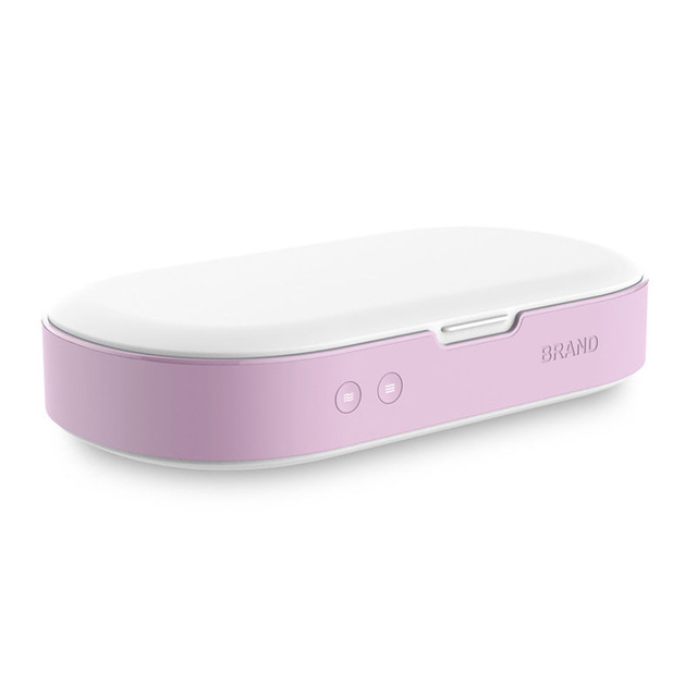 Oval Shaped Multi-function Plastic UV Sterilizer Case Box Blue Portable for Mask Mobile Phone Watch Jewelry Pink