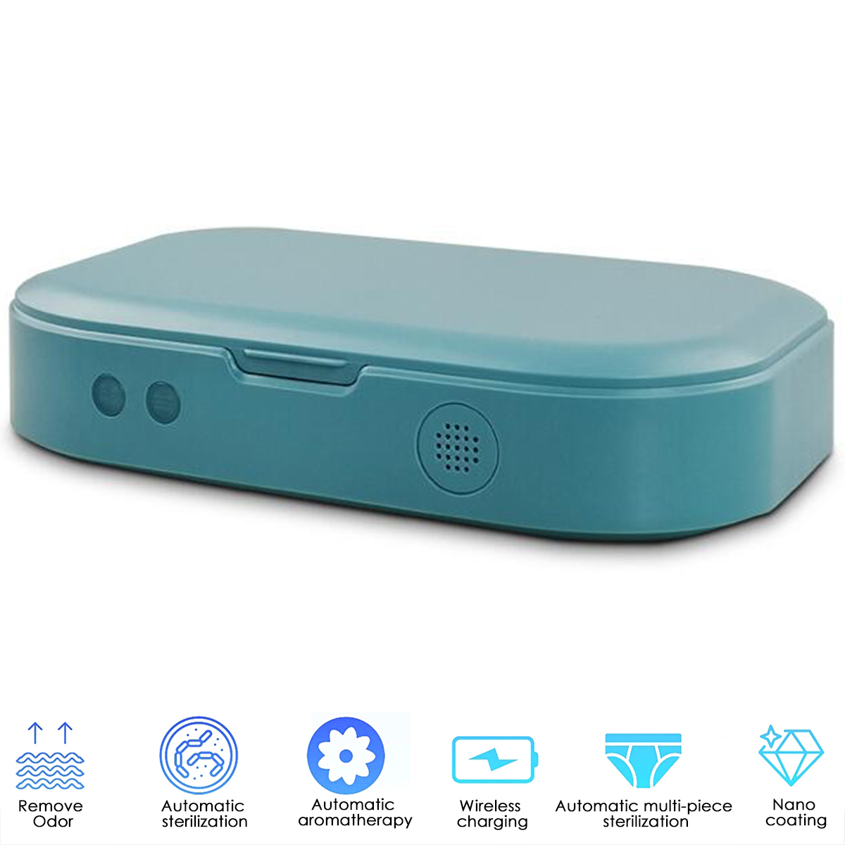 Multi-function Plastic UV Sterilizer Case Box Blue Portable for Mask Mobile Phone Watch blue