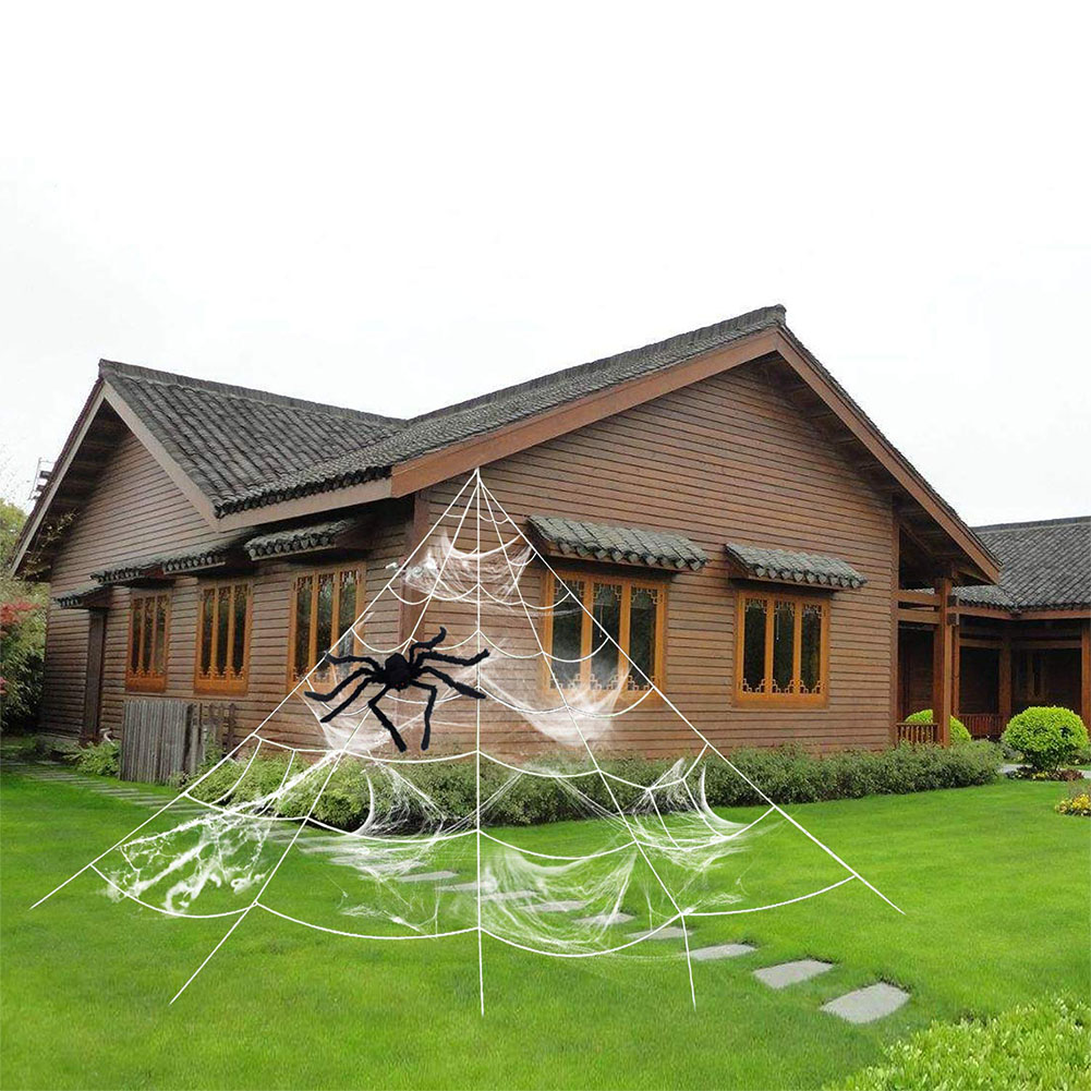 Trigonometry Spider Web with Elastic Spider Cotton for Outdoor Courtyard Halloween Party Decor Suit
