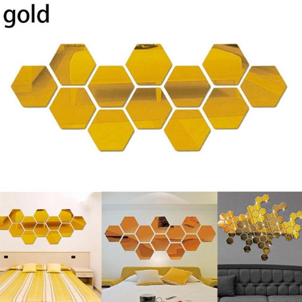12Pcs Acrylic Hexagon 3D Art Mirror Wall Sticker Home DIY Decor Gold_80x70x40mm