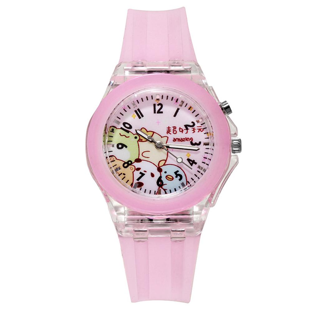Children's Watch Cartoon Cute Translucent Luminous Silicone LED Watch Pink