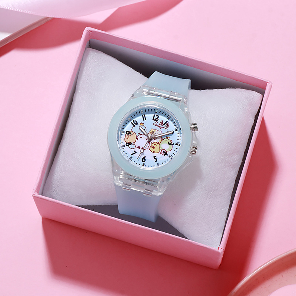 Children's Watch Cartoon Cute Translucent Luminous Silicone LED Watch Light blue