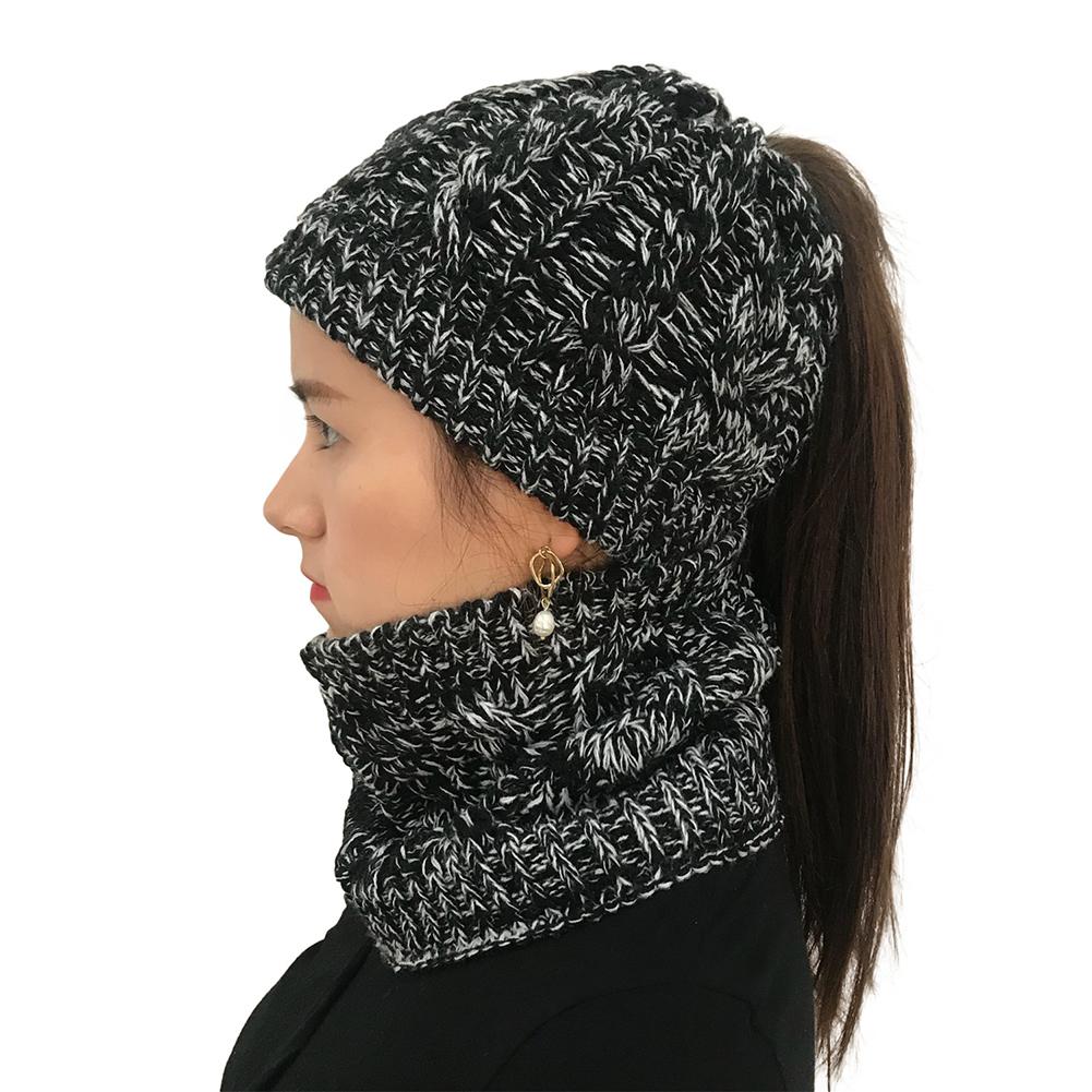 2PCS/Set Women Fashionable Beanie Cap + Neck Gaiter Knitted Ponytail Hat
