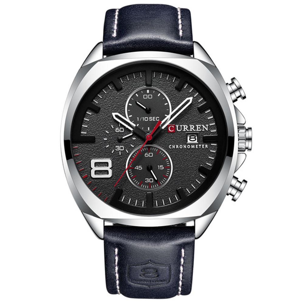 Men Business Quartz Watch Chronograph Date Display Genuine Leather Strap Waterproof Wristwatch Black