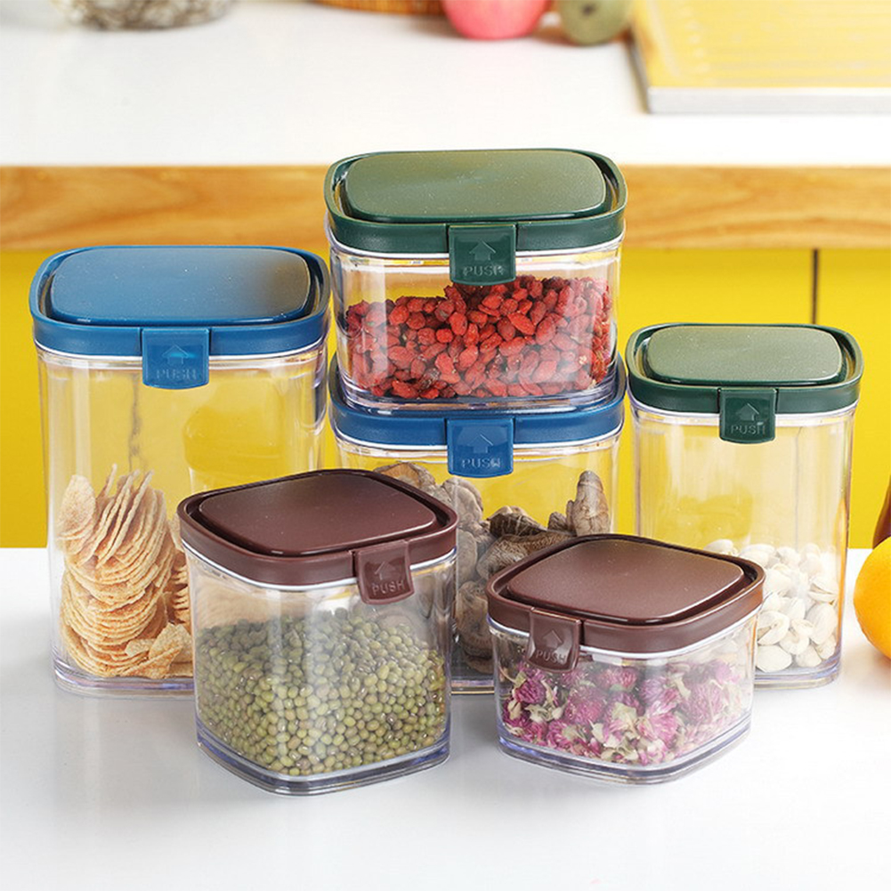 Stacked Sealing Storage Box with Cover for Kitchen Grain Food Snacks Random Color_660ml