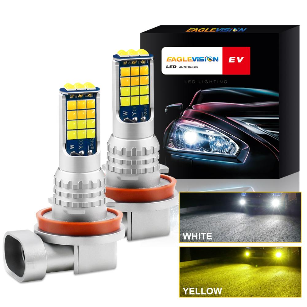 1 Pair Aluminum Car V6 High-brightness Dual-color Fog Lamp Car Light H11