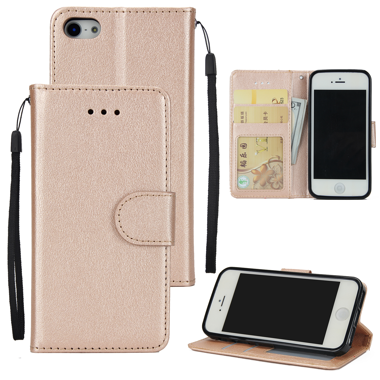 Ultra Slim PU Full Protective Cover Non-slip Shockproof Cell Phone Case with Card Slot for iPhone 5G/5S/5SE Golden