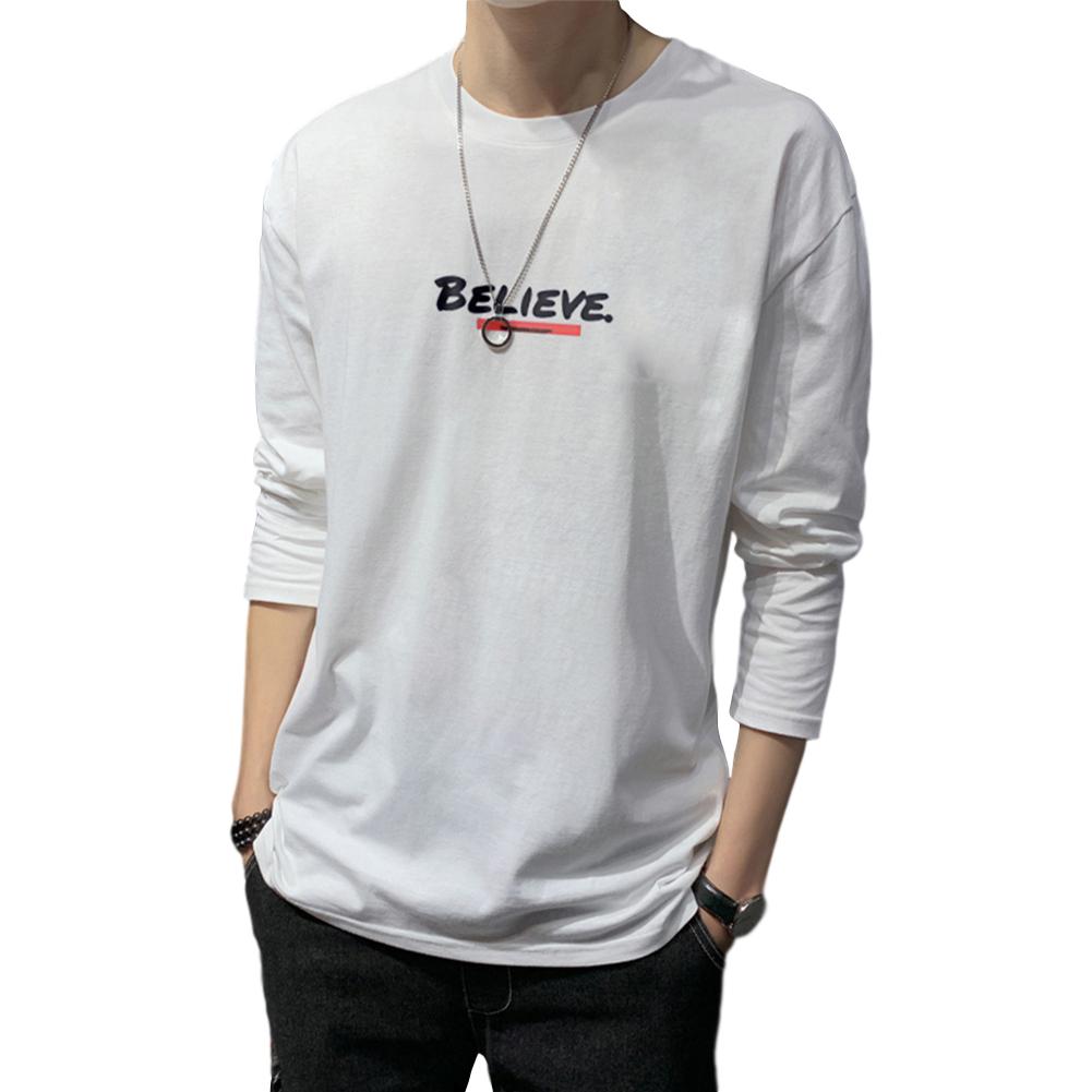 Men's T-shirt Autumn Long-sleeve Thin Type Loose Letter Printing Bottoming Shirt white_3XL