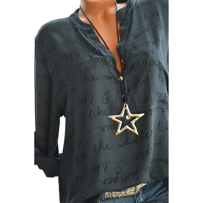 Women Casual V-Neck Letters Print Top