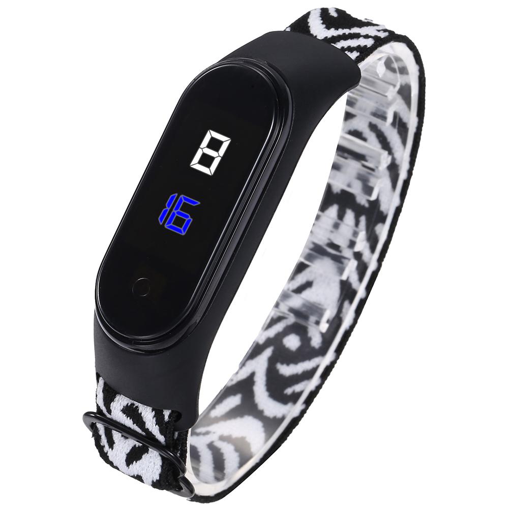 Wrist  Watch Led Waterproof Fashion Touch Sensitive Leopard Print Elastic Bracelet Electronic Digital Watch Black and white