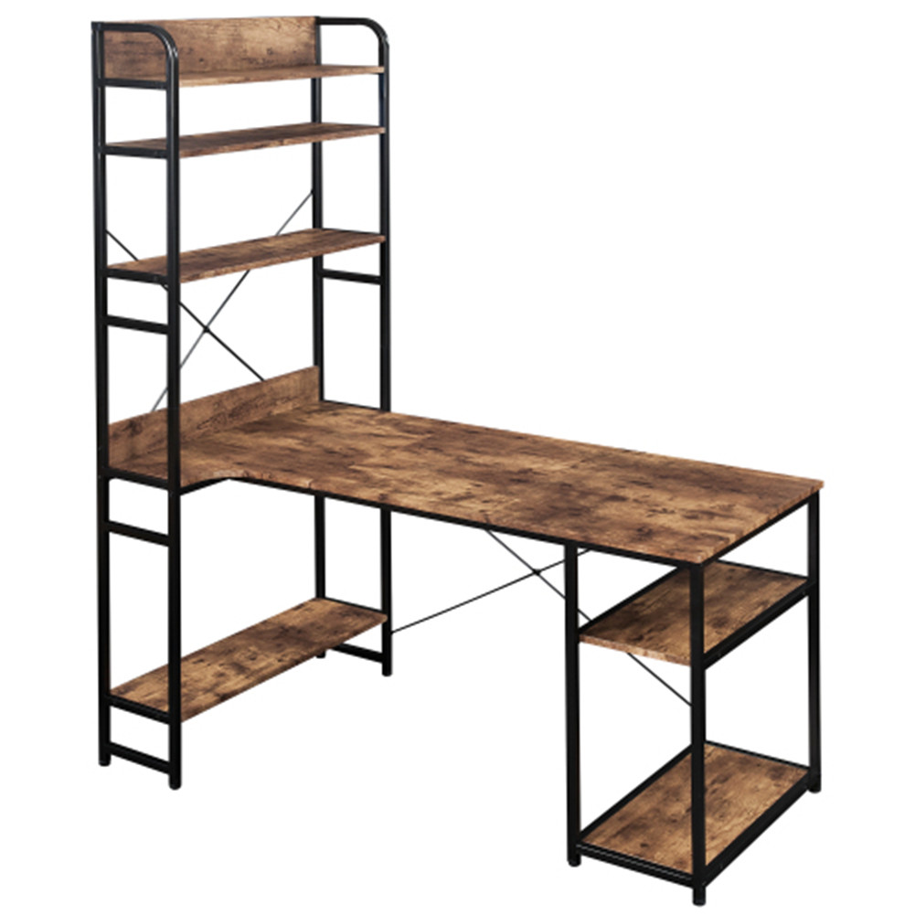 [US Direct] Mdf+metal Frame Home Office Computer Desk 5 Layers Open Type Bookshelves Large Storage Space brown
