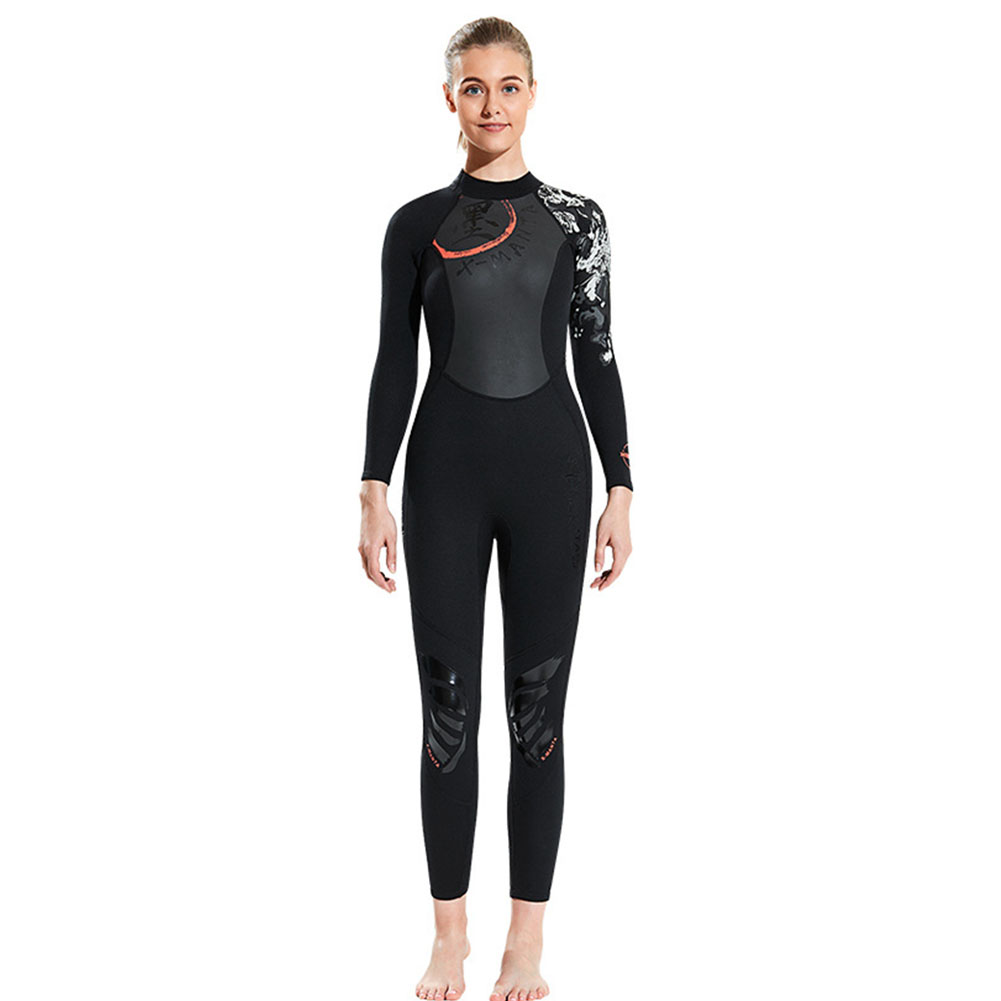 Chinese Style Diving Suit 1.5MM Warm Siamese Long Sleeve Surfing Jellyfish Suit Female black_L
