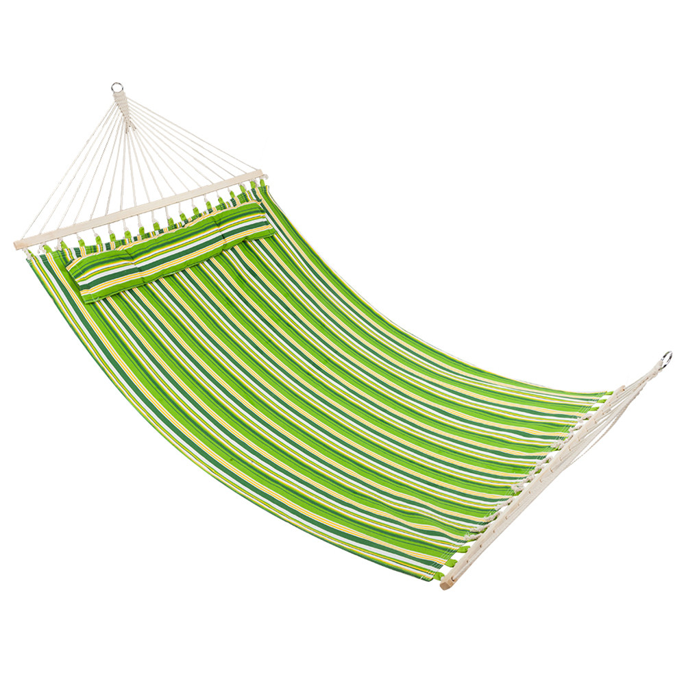 [US Direct] Polyester Fiber 2 People Hammock With Wooden Poles Green Print Hanging  Bed Printed green