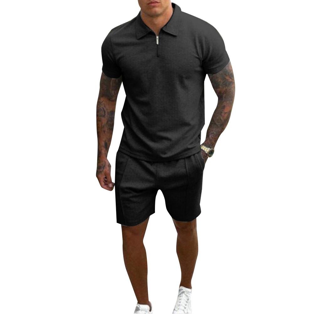 2 Pce/set Men  Casual  Sets Summer Lapel Short-sleeved T-shirt Loose Shorts Leisure Suit Black_XL