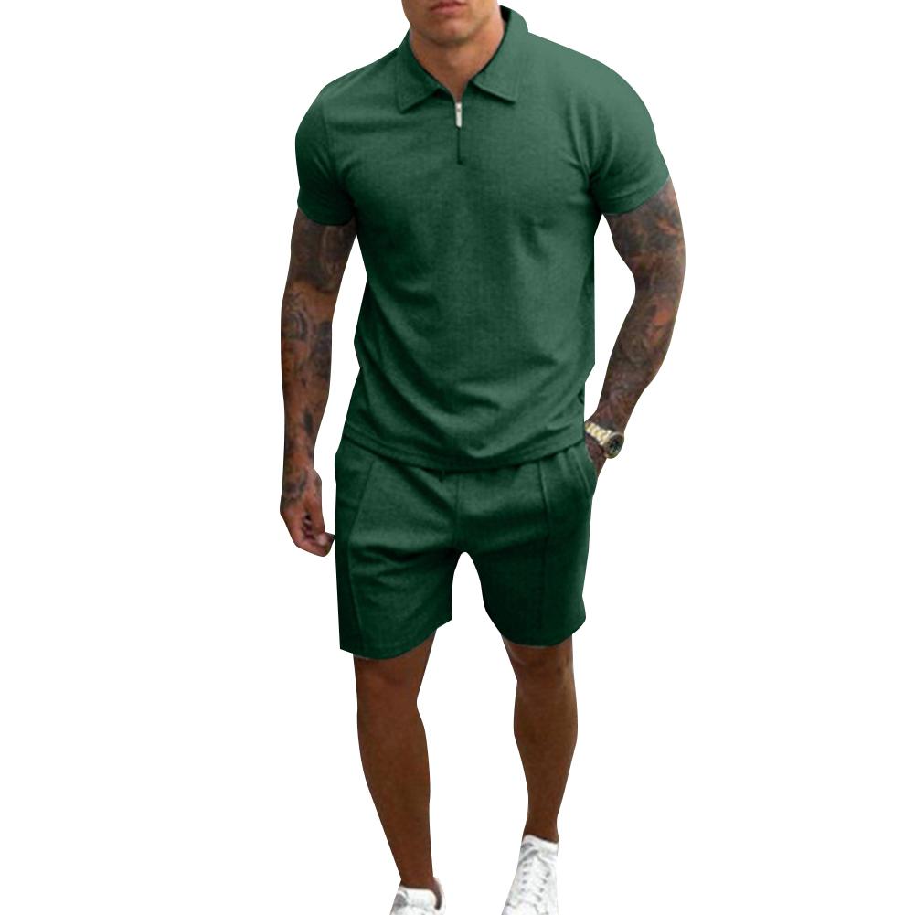 2 Pce/set Men  Casual  Sets Summer Lapel Short-sleeved T-shirt Loose Shorts Leisure Suit Green_XL