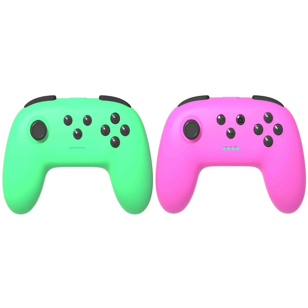 1 Pair of Bluetooth Wireless Game Controller for Switch Pro  Green + pink