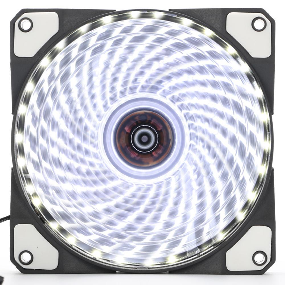 12cm PC Computer Clear Case Quad 33 LED Light CPU Cooling Fan Heatsink white