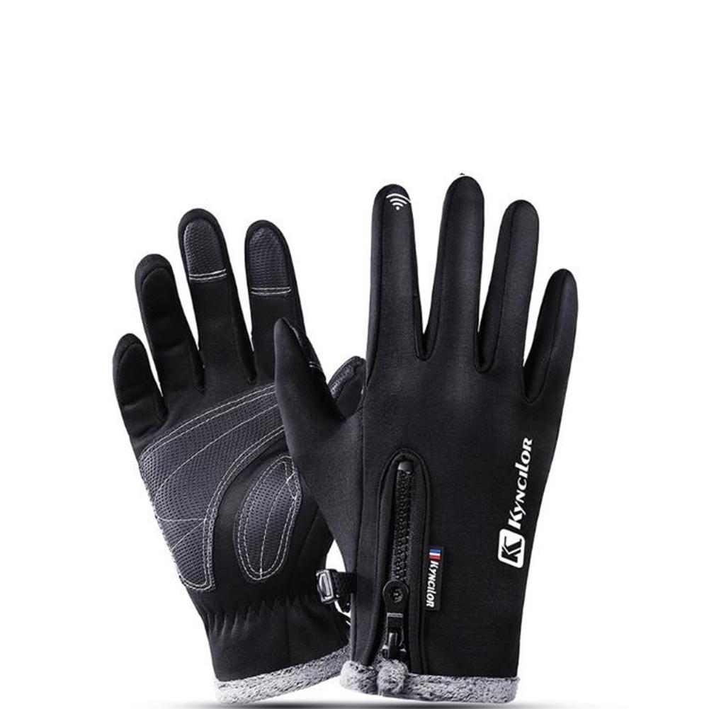 Autumn Winter Warm Telefingers Gloves Riding Driving Thicken Gloves for Men  black_S