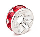 MBOX Silver Plated Rhinestone Crystal Rondelle Spacer Beads 8mm Various Color (Red)