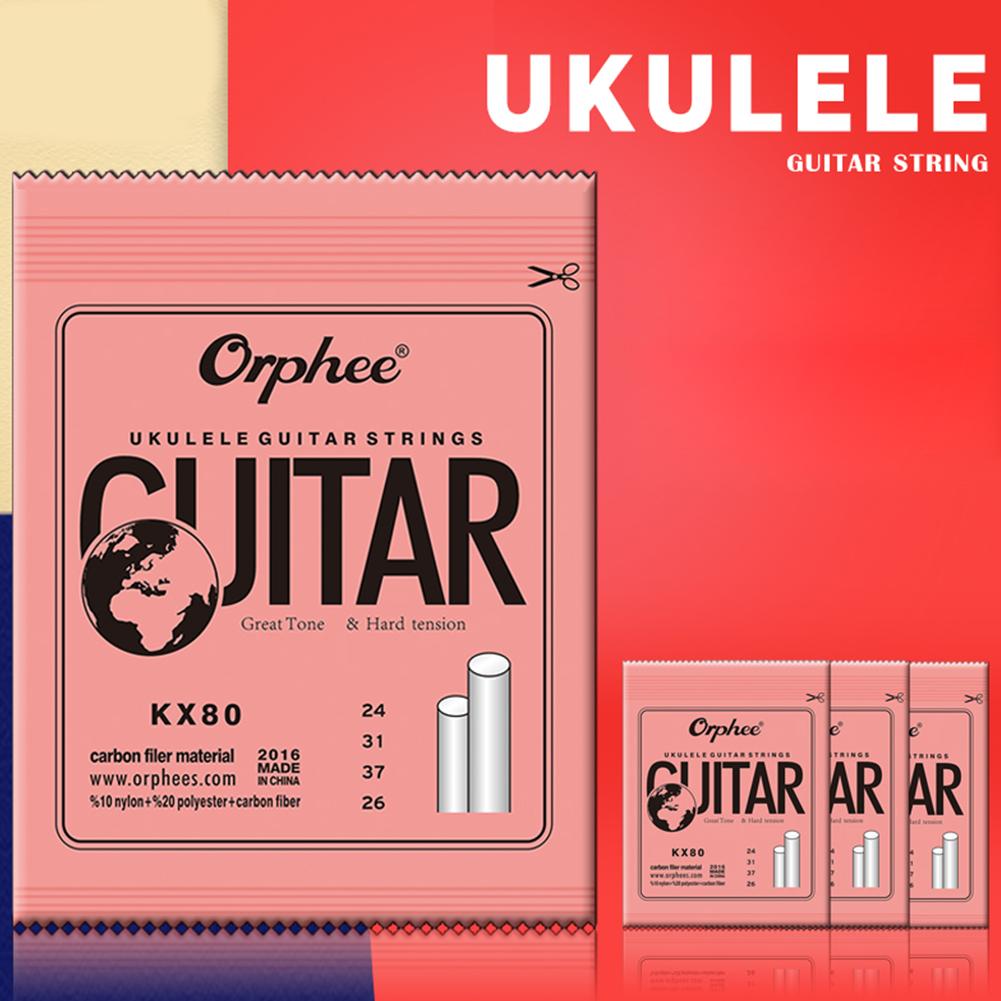 Orphee KX 4pcs Professional Clear Nylon Carbon Fiber Ukulele Strings Hawaii Guitar for Ukulele Soprano Concert Tenor  KX80