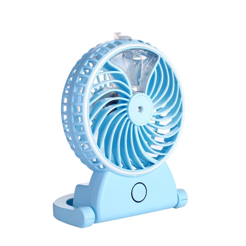 Summer Humidifier Mini Fan USB Rechargeable Water Mist Fan Office Home Cooler blue_Unisex