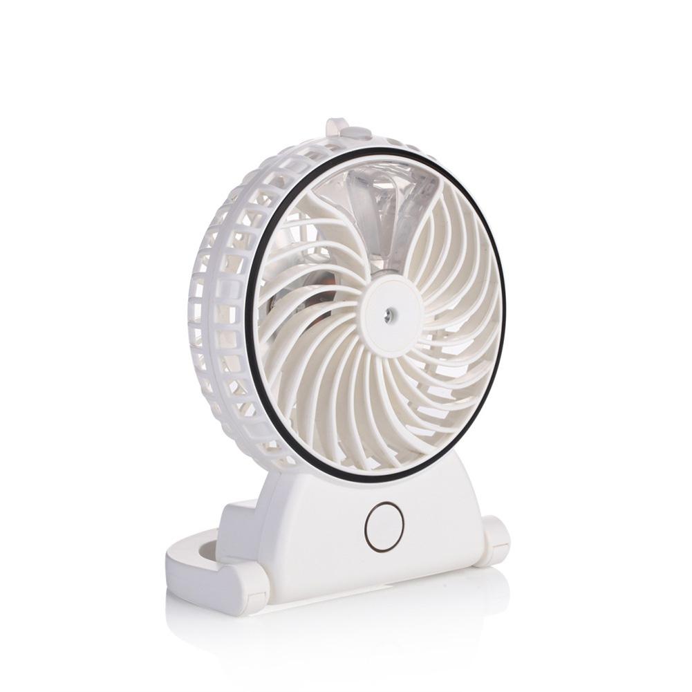 Summer Humidifier Mini Fan USB Rechargeable Water Mist Fan Office Home Cooler white_Unisex