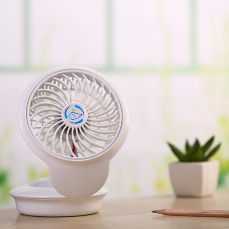 USB Rechargeable Mini Fan with 7 Colors Change Night Light for Home Tabletop white