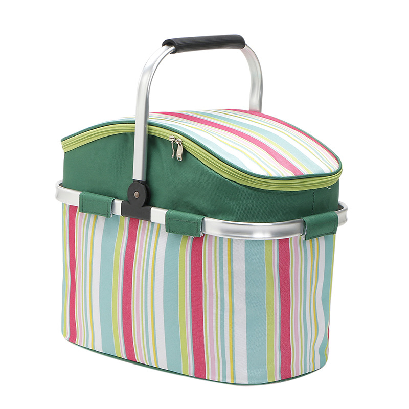 26L Folding Picnic Basket Camping Bags Insulated Cooler Cool Hamper Storage Basket Bag Box Outdoor Picnic Bags Rose red stripes