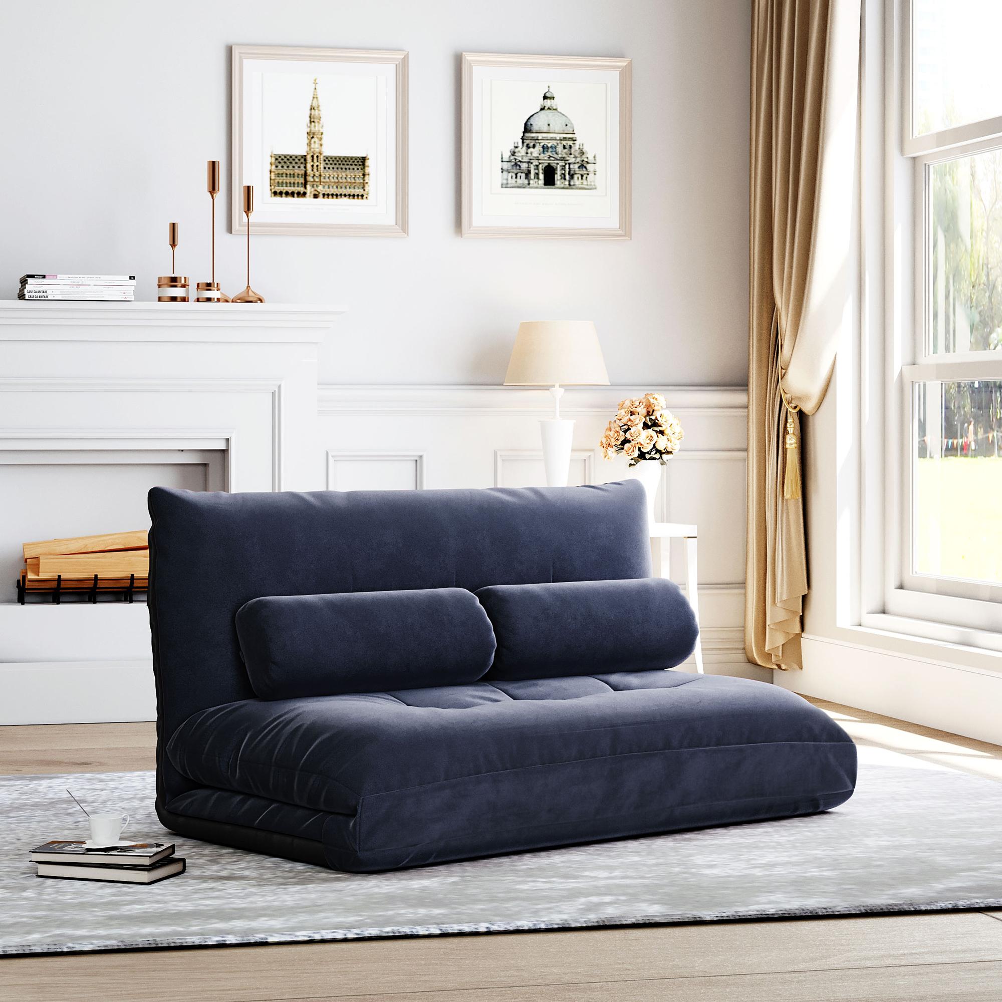 [US Direct] Orisfur. Sofa Bed Adjustable Folding Futon Sofa Video Gaming Sofa Lounge Sofa with Two Pillows
