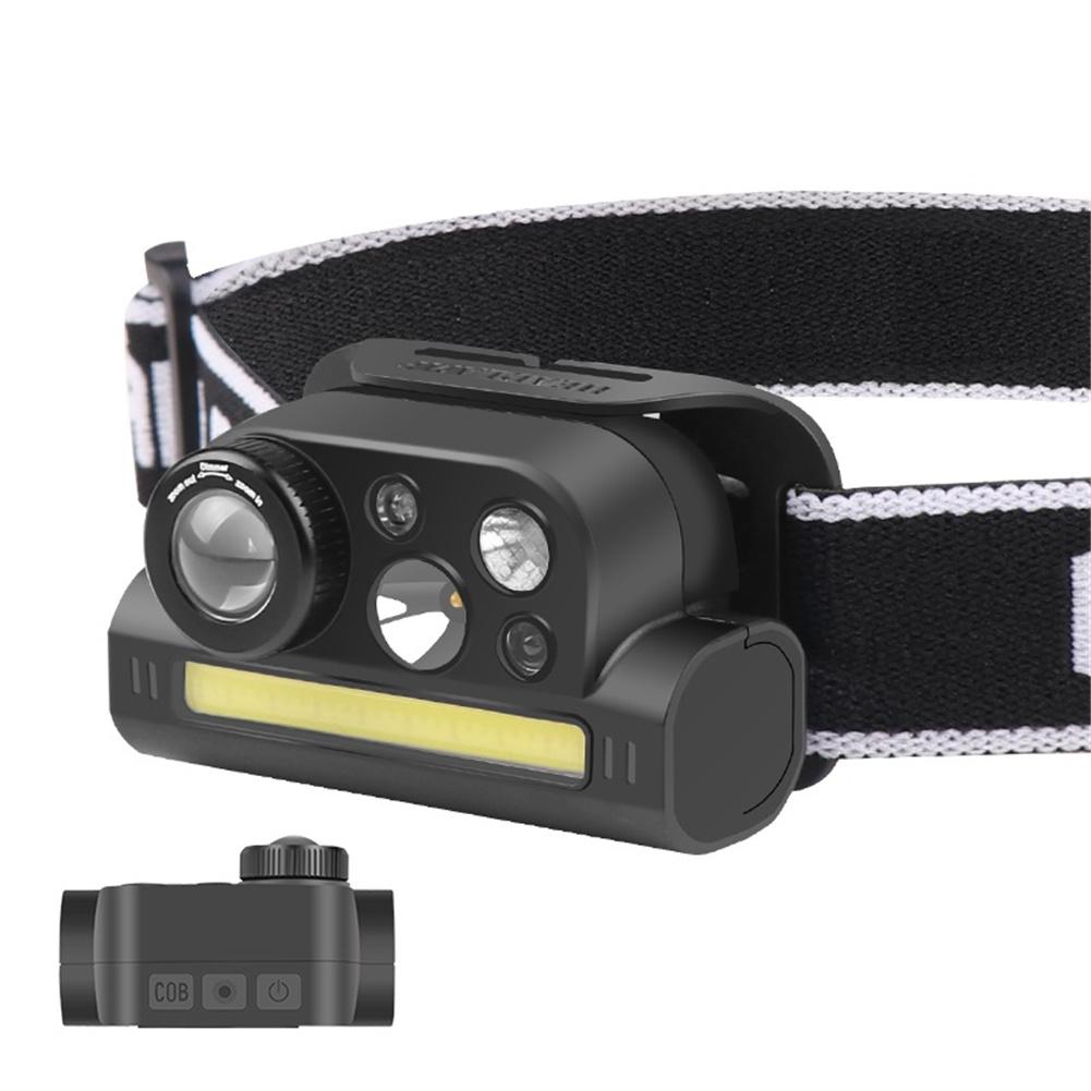 Headlight Outdoor Type-c Rechargeable Multifunctional Induction Headlamp Flashlight Led Light Lamp Black