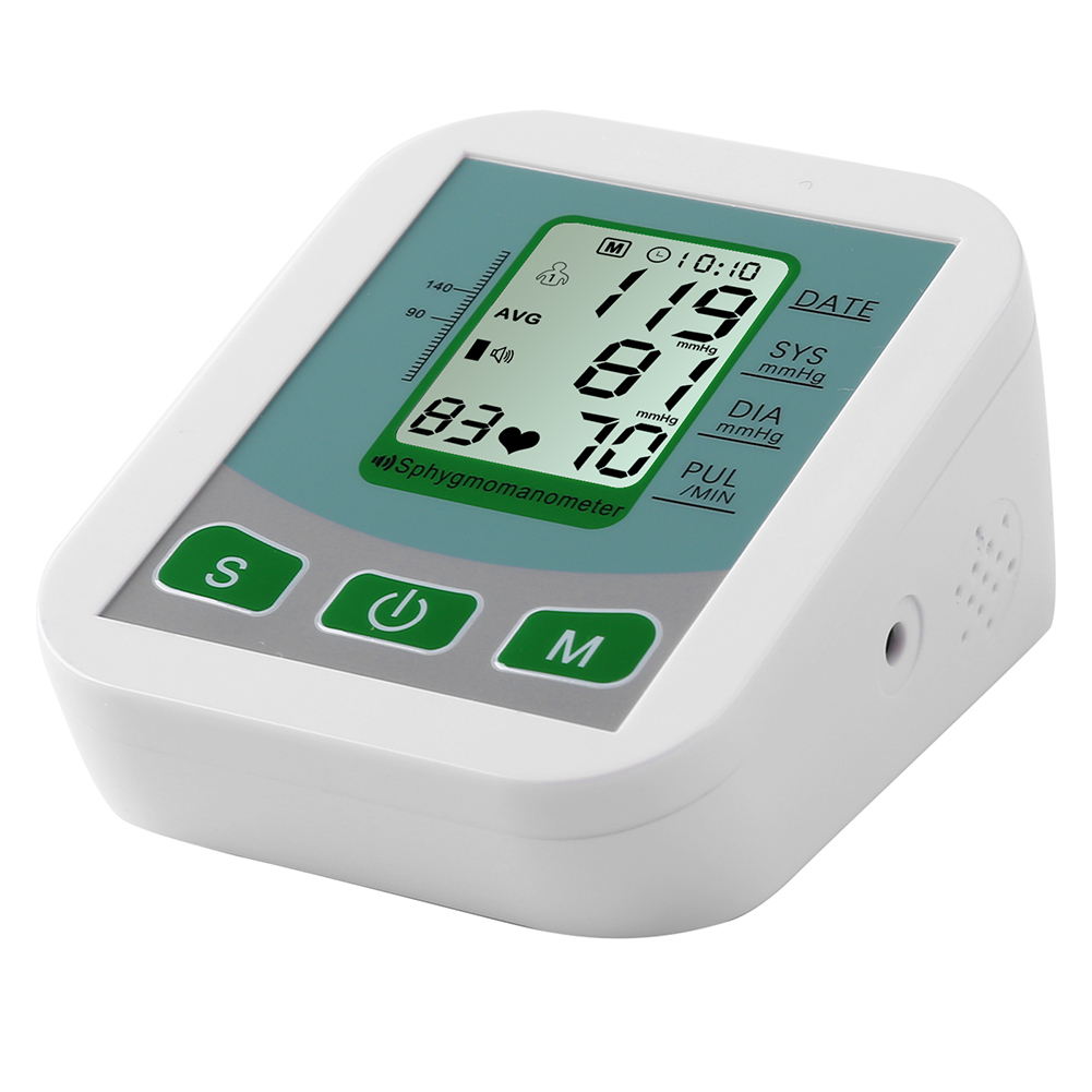 Sphygmomanometer Arm Blood Pressure Monitor Bp Heart Rate Measurement Detector White
