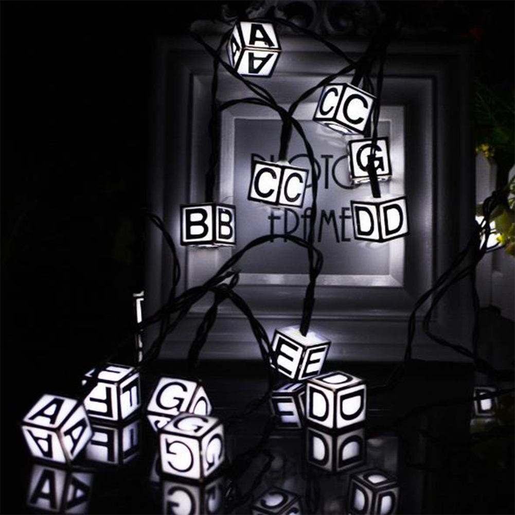 20LED Christmas Solar Energy Lamp String Alphabet Outdoor Waterproof Party Festival Christmas Halloween Wedding Decor White_5 meters 20 LED
