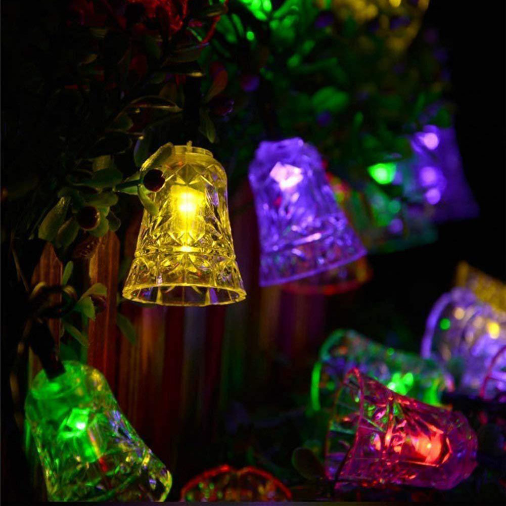 20LED Christmas Jingling Bell Solar String Lights Outdoor Waterproof String Lights Carved Festival Decorative Lamps color