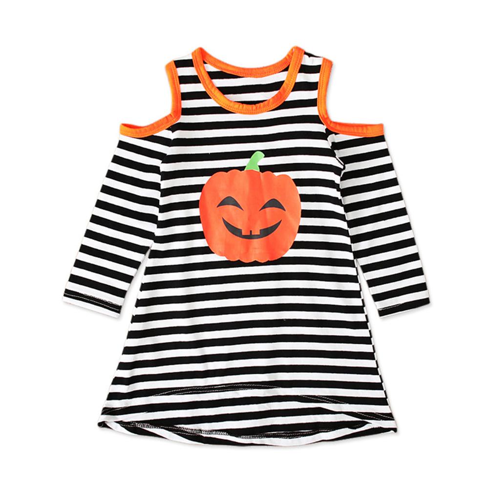 Halloween Pumpkin Decor Dress Bare Shoulder Long Sleeves Dress for Girls  Stripe CC01648_90 yards