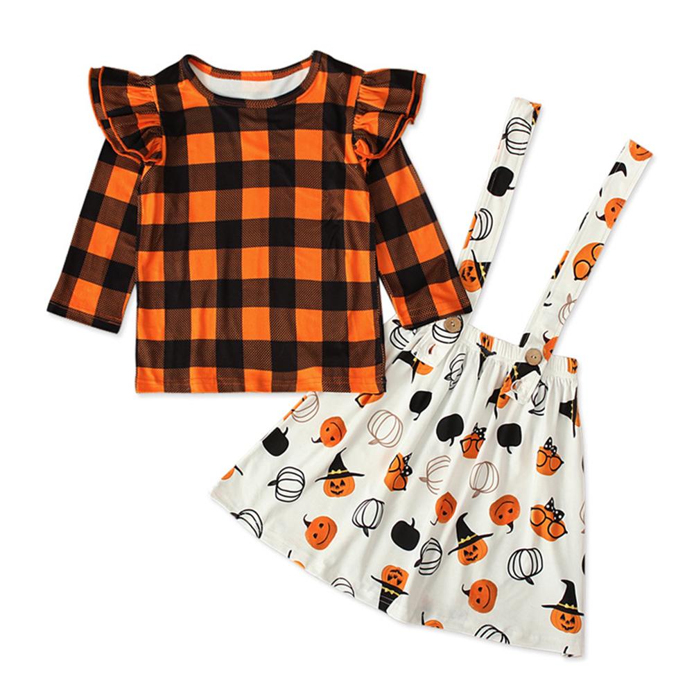 Halloween Lattice Top+Sling Dress Girl Outfit Pumpkin Decor Clothing Set Party Suits Orange CC01633_130 yards