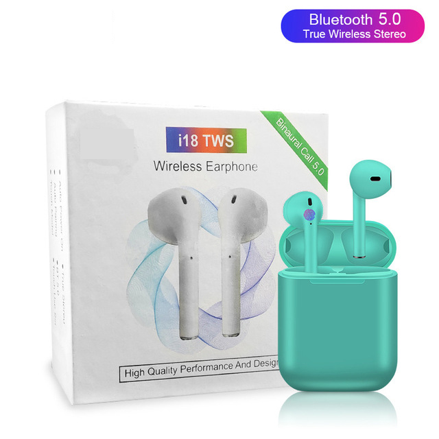 i18 TWS Bluetooth 5.0 Earphones Earbuds Wireless Headsets 3D Sound Touch Control for iphone Xiaomi Huawei Green