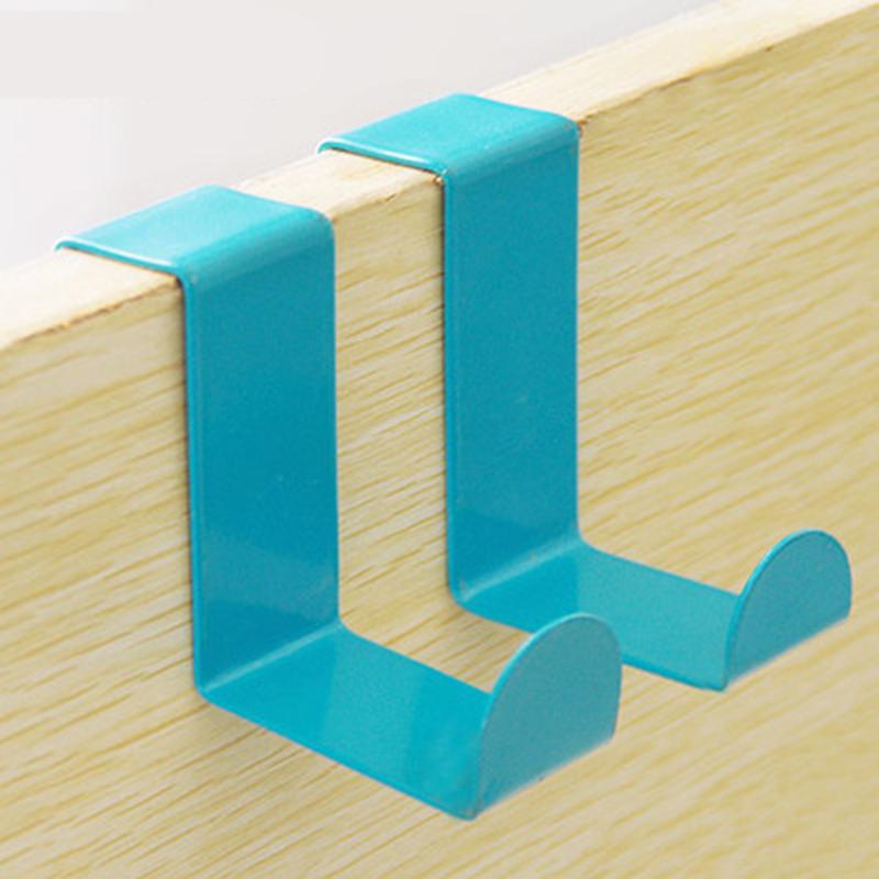 2Pcs Creative Color Z Type Stainless Steel Non-scratch Over Door Back Hanger Hook Rack