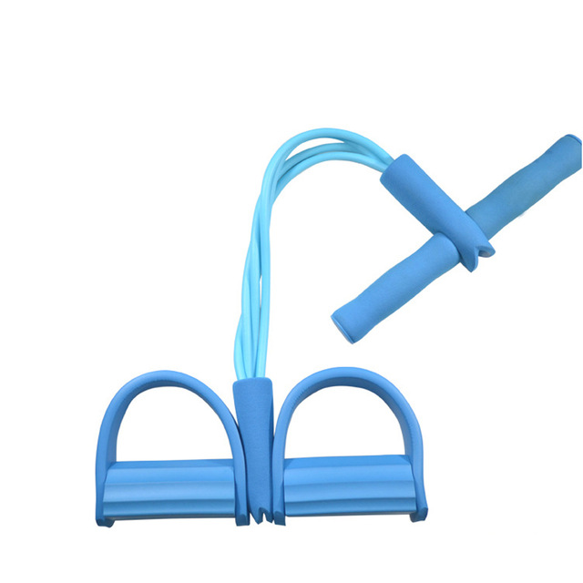 4 Tube Tension Trainer Sports Foot Expander Weight Loss Fitness Equipment Chest Pull Leg Latex Draw Rope Gymnastics Rope blue_Four tubes