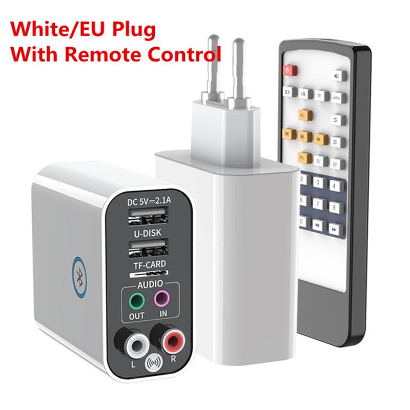 2-in-1 Wireless Audio Adapter Bluetooth 5.0 Receiver Transmitter Aux Audio Adapter White_EU Plug