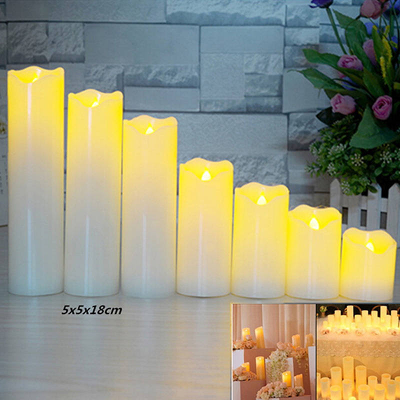 Slant Wave Top LED Electronic Simulate Candle Light Night Light Decoration Diameter 5* Height 18cm