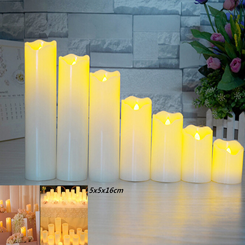 Slant Wave Top LED Electronic Simulate Candle Light Night Light Decoration Diameter 5* Height 16cm