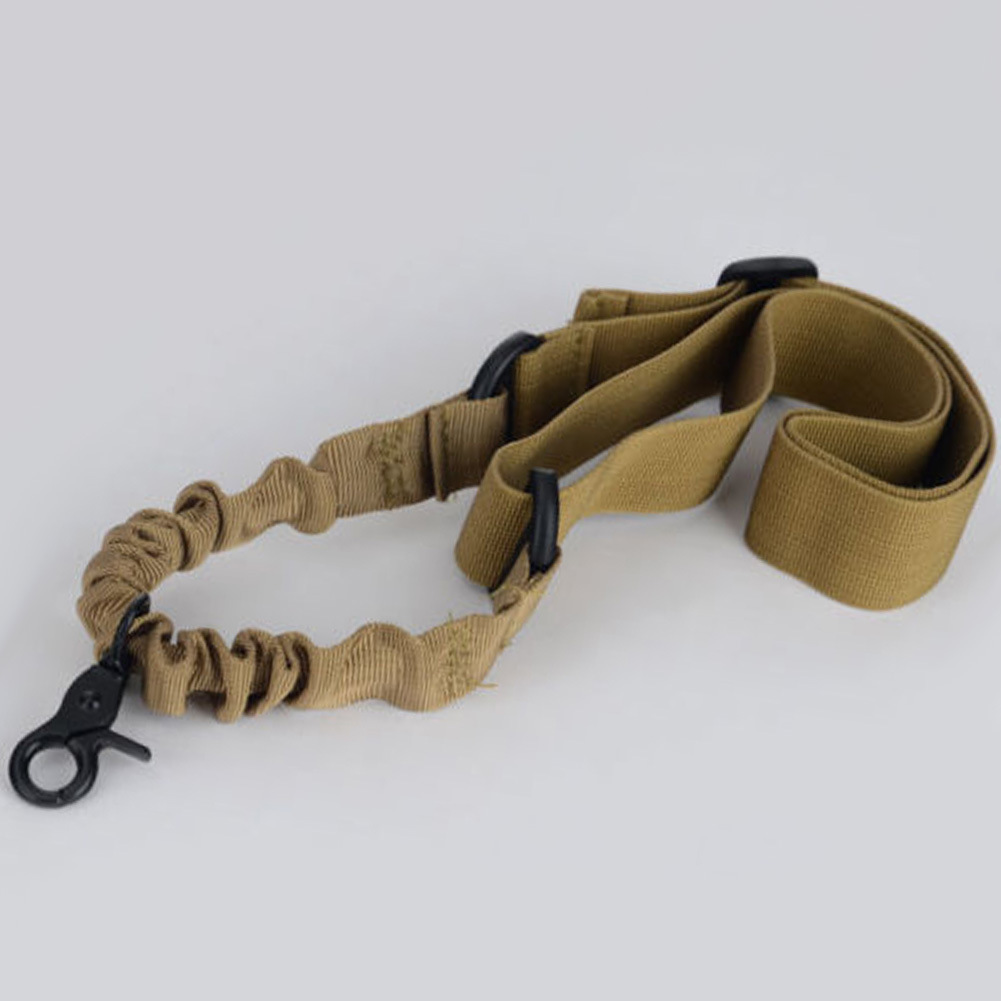 Single Point Tactical Sling Strap Bungee Hook Adjustable Nylon Shoulder Strap Gun Sling for Rifle Hunting Khaki