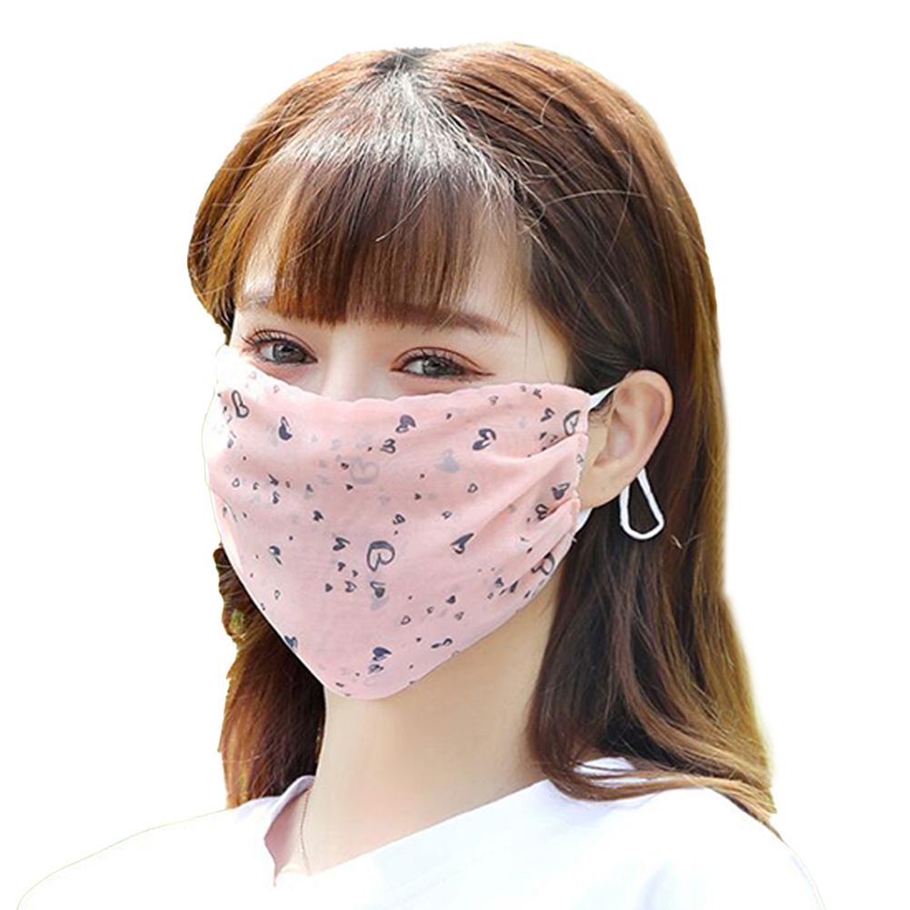 Fashionable Chiffon Printed Sunscreen Summer Breathable And Washable Dustproof Mask Snow Bud Love_One size