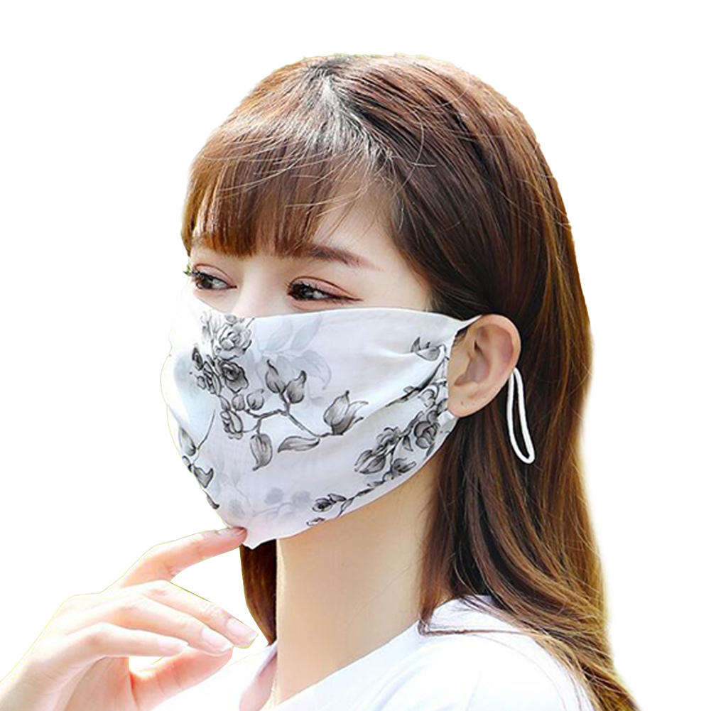 Fashionable Chiffon Printed Sunscreen Summer Breathable And Washable Dustproof Mask Black leaf flower_One size