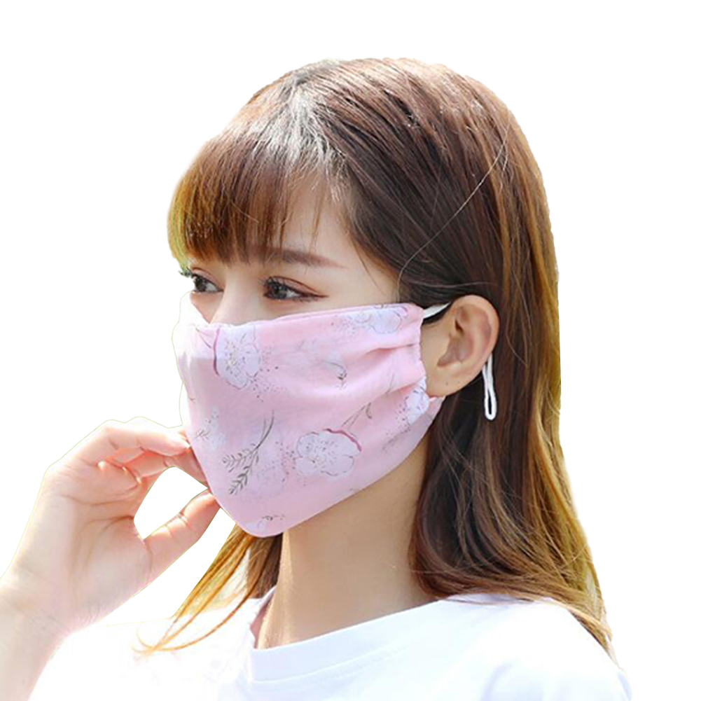 Fashionable Chiffon Printed Sunscreen Summer Breathable And Washable Dustproof Mask Small white flowers on foundation_One size