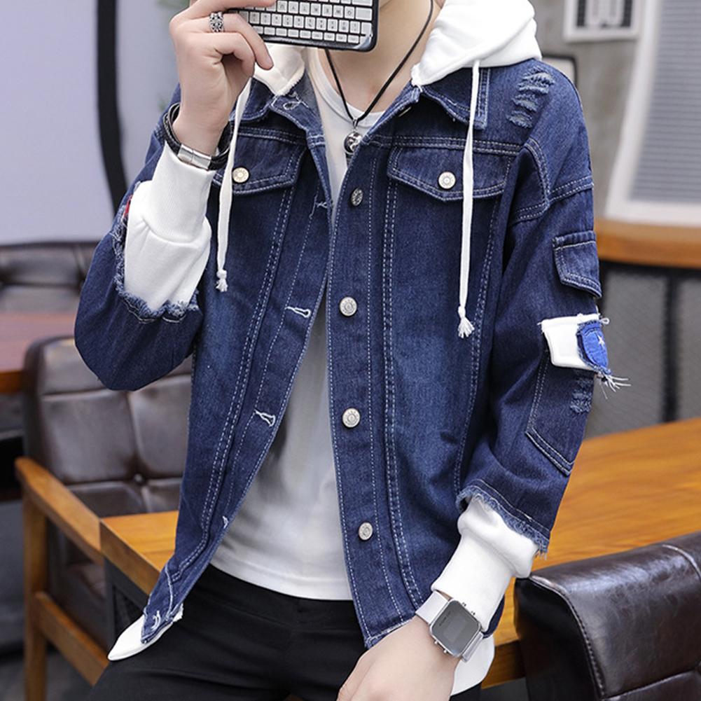 Fashion Denim Jacket with Hood Casual Style Handsome Coat  dark  blue_XL