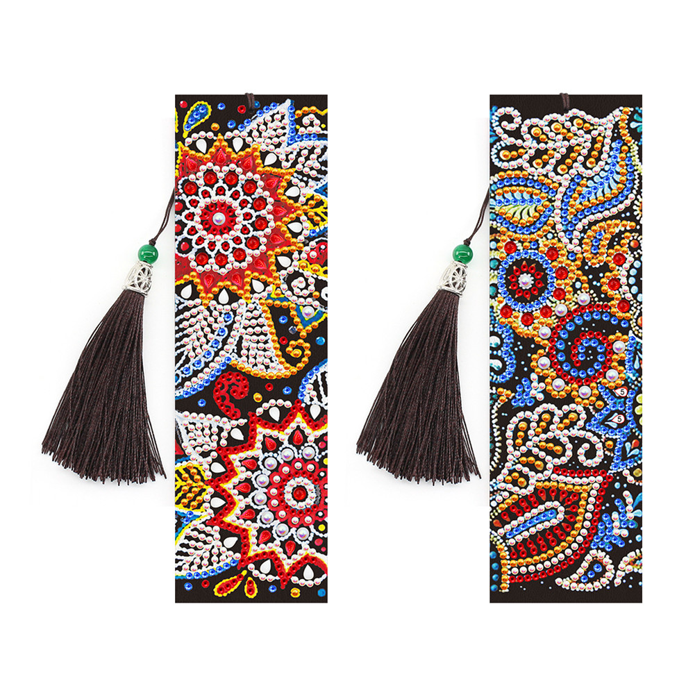 2Pcs 5D Leather Tassel Book Marks Special Shaped Diamond Embroidery DIY Bookmark SQ20