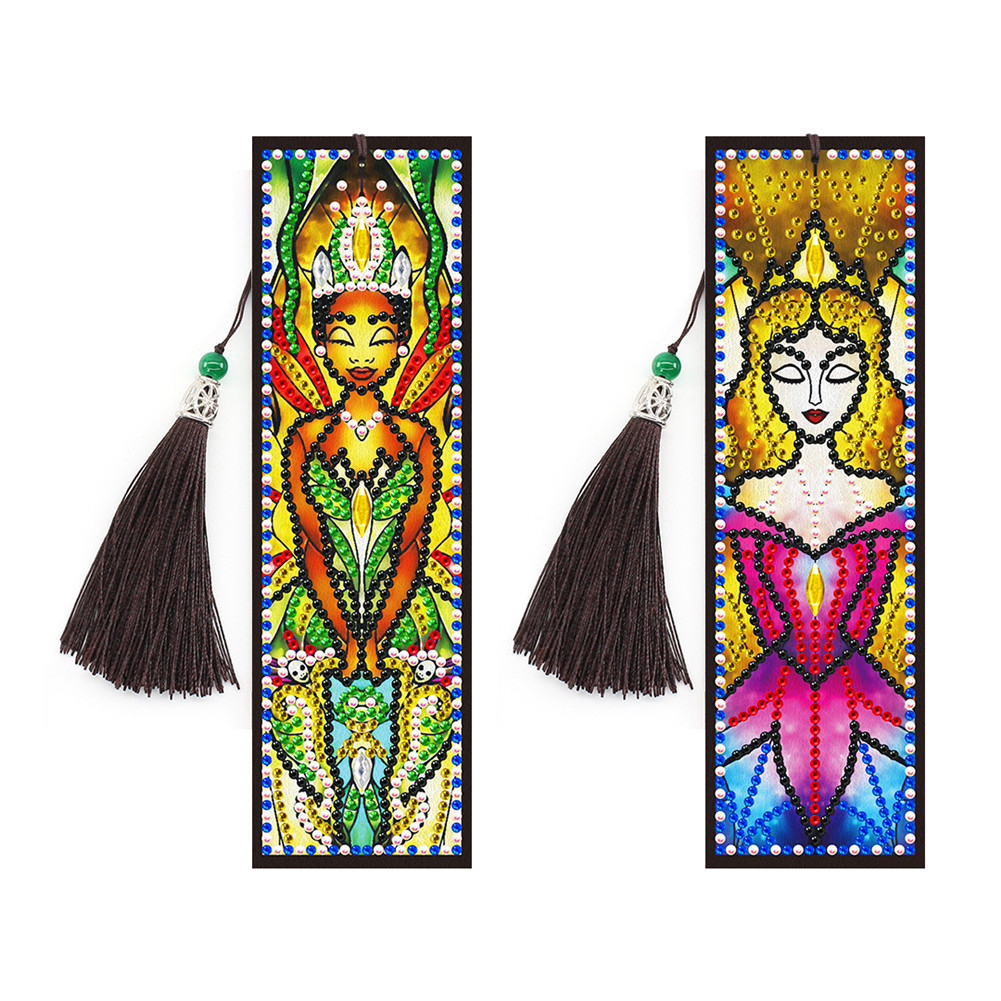 5D Leather Bookmark with Tassel Special Shaped Diamond Embroidery DIY Craft SQ18